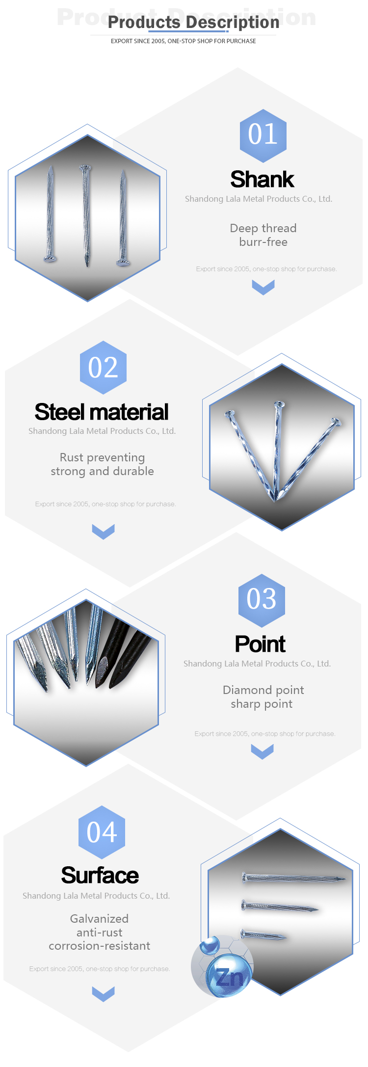2020 Hot Sale Galvanized Steel Concrete Electric Galvanized Nail Concrete Nails