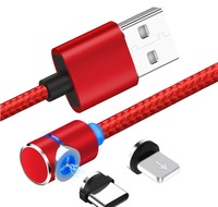 3.0 charging magnet usb cable fast braided charger 3 in 1 type-c micro usb charging magnetic cable for iphone android