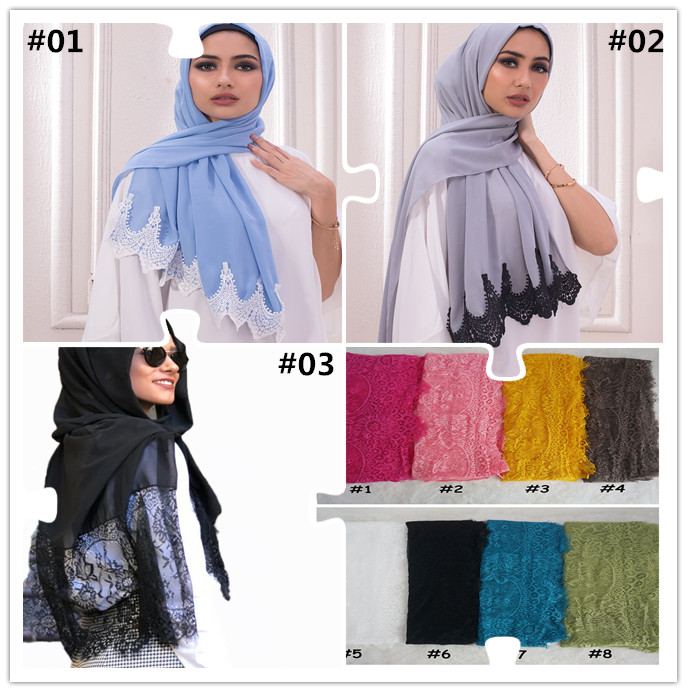 New Trend Custom-Made Outfit Elegant Muslim Head Scarf New Textured Luxury Crepe Georgette Lace Hijabs