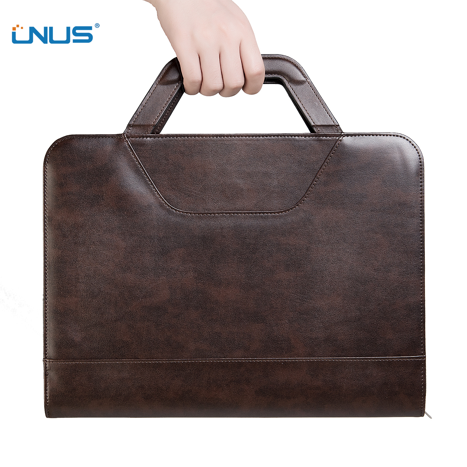 Portable Leather Portfolio Case with Carrying Handle