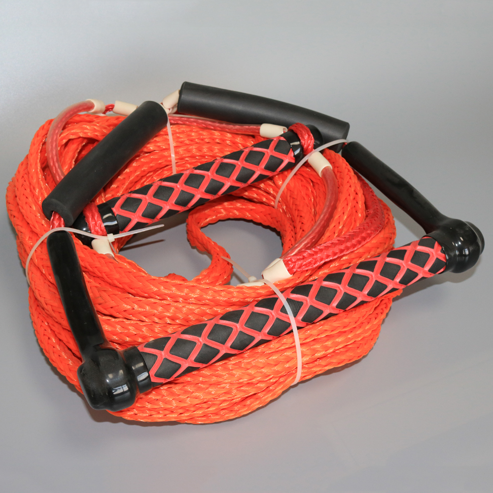 PE Hollow Braided Water Skiing Rope Wakeboard Tow Harness Rope 1 Section 75' Feet Red Wakeboarding  rope