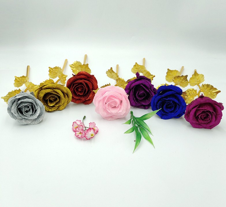 Popular pearl powder artificial flower gift rose for valentines day