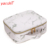 Yaeshii Marble Pattern Cosmetic Bag With Gold Zipper