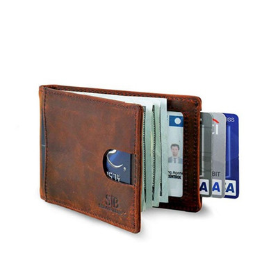 PU leather RFID Blocking Slim Bifold Card Holder <strong>Wallet</strong> with Money Clip