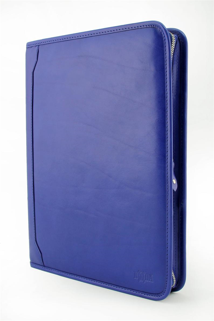 Business gift blue compendium organizer case PU portfolio custom with 3 ring binder