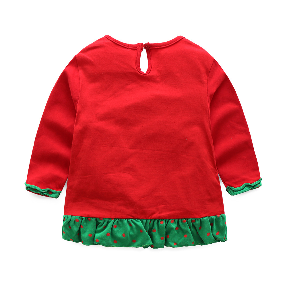 Children's Wear 2019 Autumn Children's Suits Girls Christmas Snowman Lace Sleeve New Year's Suit Kids Clothing