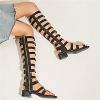 Roman Flat Heel With Toe Ring Design Strappy Zipper Gladiator Sandals Women Knee High