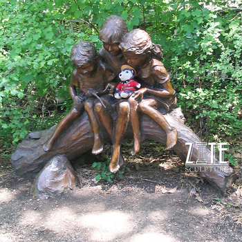 Outdoor garden life size metal bronze children statue for sale