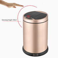 Household round 6L exquisite solid Innovative infrared series stainless steel sensor automatical dustbin