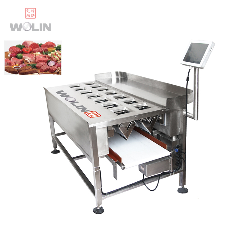 Compact multihead weigher with manual feeding for fresh meat