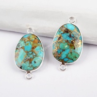 S1481 silver plated copper turquoise stones jewelry gold turquoise boho connectors for bracelet making
