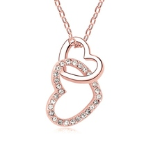 New Arrival Double Heart Diamond Love <strong>Necklace</strong>