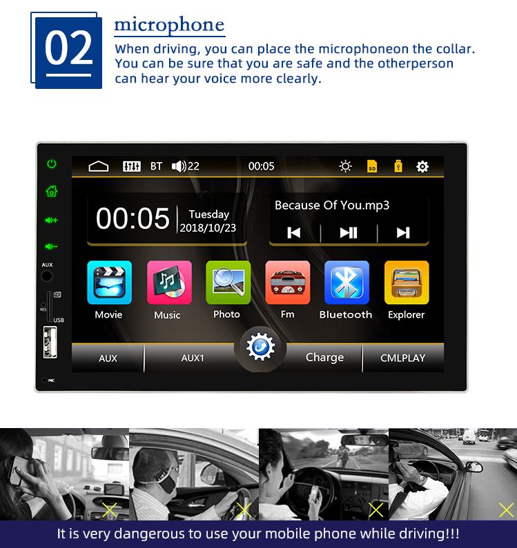 2din Touch Screen Car Mp5 Player 7 Inch Multimedia Player Support Bluetooth Radio with USB AUX In SD Card
