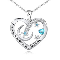 Distance I Love You to The Moon and Back Mom Necklace 925 Sterling Silver Heart Pendant Necklace Jewelry Gifts for Women Mom