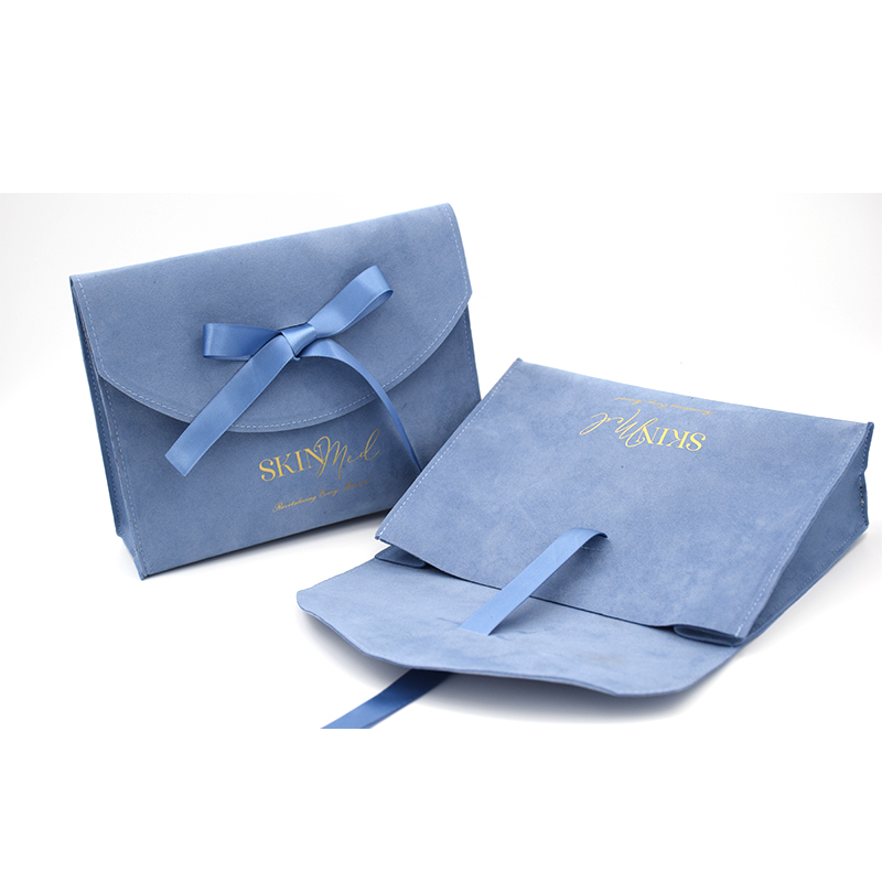 New arrival Custom logo printed small envelope flap birthday gift bag luxury Suede Jewelry Pouch With Ribbon Bow