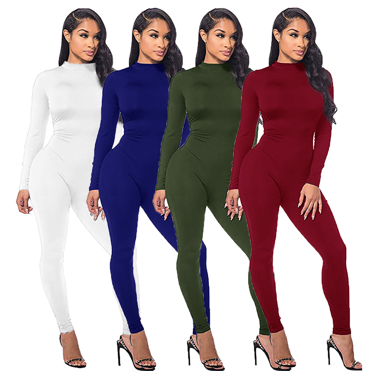 wholesale best design long sleeve solid color plain back zipper slimming one piece bodycon women jumpsuits rompers