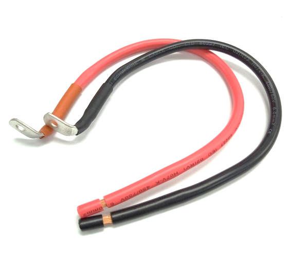 <strong>H07V</strong>-<strong>K</strong> 6mm2 <strong>cable</strong> with right angle M8 ring terminal black and red