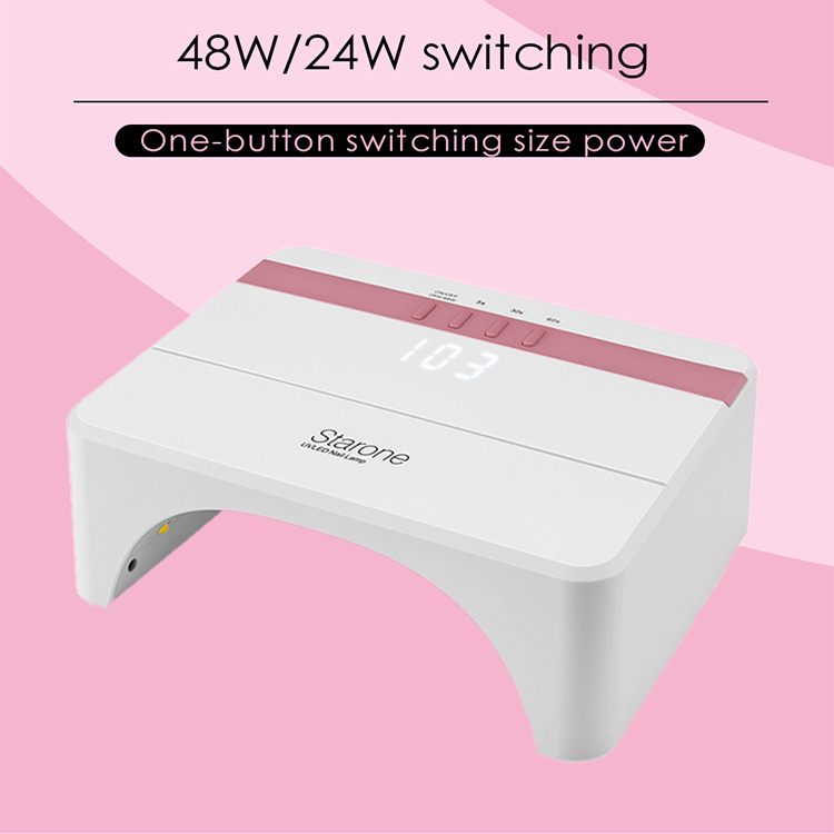 Professional 48W Rose Gold Nail Dryer for Gels Polishes 30 UV LED Nail Lamp with 3 Timer Setting Smart Automatic Sensor