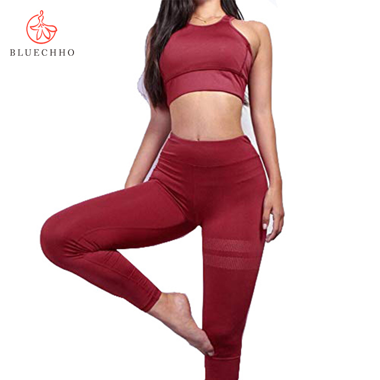 <strong>Women</strong> Wholesale Sports Clothing High Waist Gym Leggings Set Butt Lift Fitness Yoga Apparel 2 Piece Set