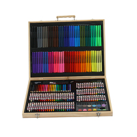 214 Pieces School Stationery Drawing Supplies Wooden Box Full Color Art Painting Set for Kids