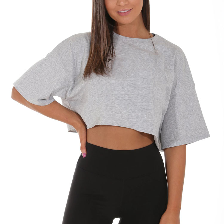 Wholesale 95% Cotton 5% Elastane Blank T Shirt Fitted Grey Cropped Short Sleeve T Shirt Custom Crop Top