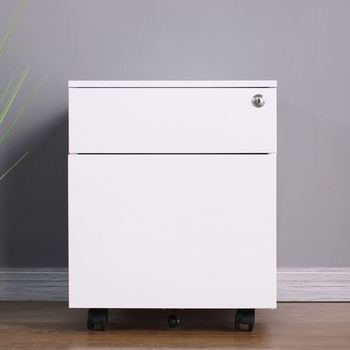 Steel Construction White 2-Drawer Vertical Mobile File Cabinet With Lock For Home And Office
