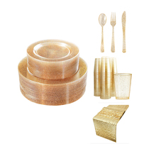 Savall 40-150 pieces party gold disposable <strong>plates</strong> Plastic tableware set gold rim disposable Plastic dinnerware fork Gold <strong>plate</strong>