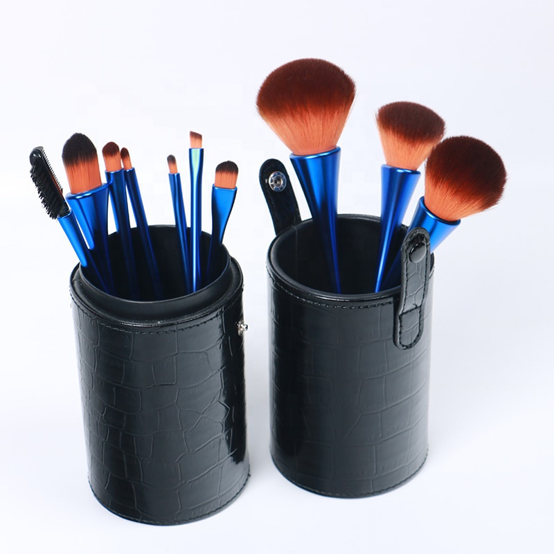 Hot sale blue green ssynthetic makeup brush set professional with makeup brush <strong>case</strong>