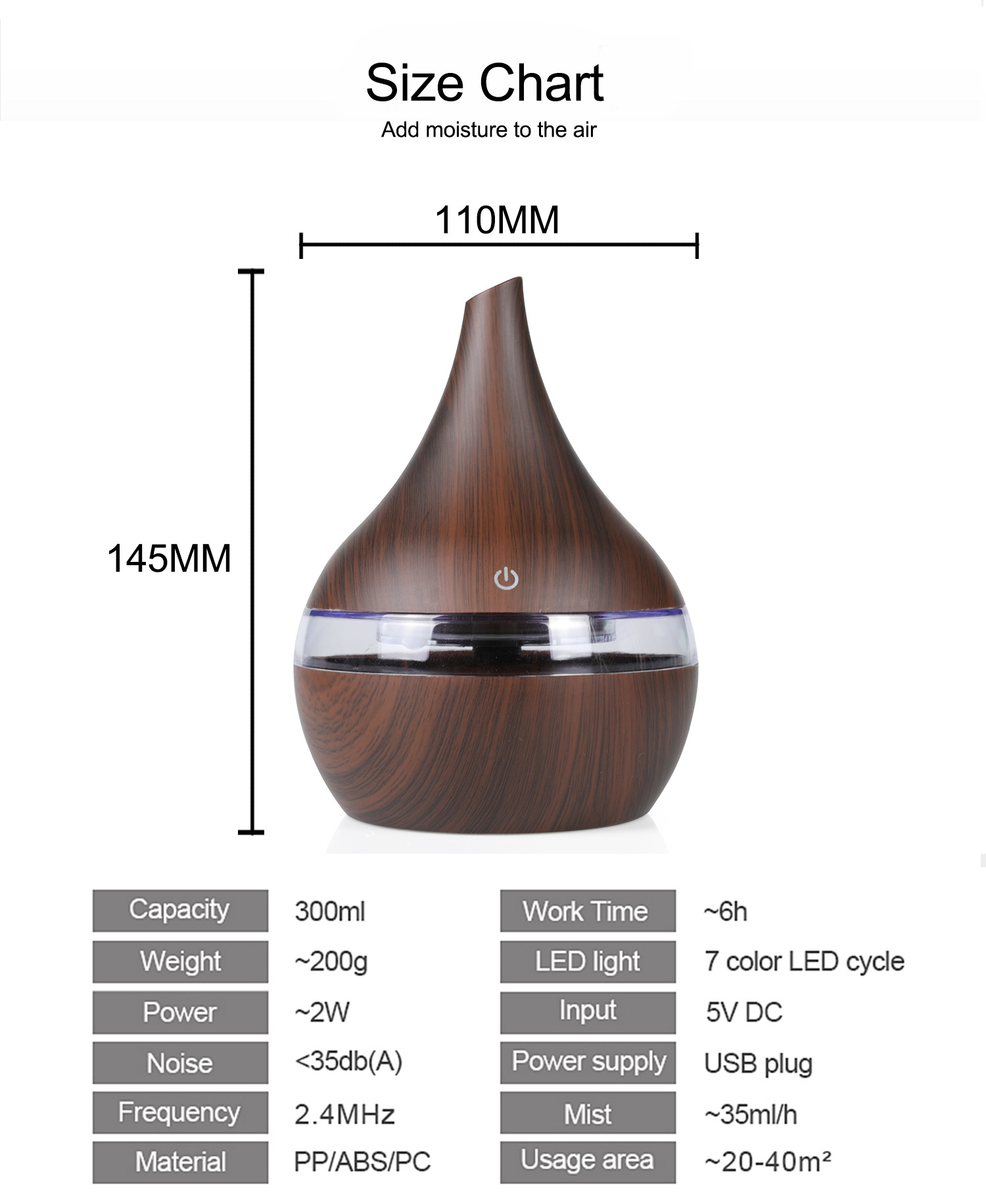Popular 300ml USB Electric Aroma air diffuser wood Essential oil Aromatherapy hotel aroma diffuser