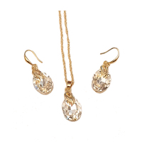 Wholesale Factory Price Gold Crystal Heart Pendant Necklace Bracelet Earrings Women Fashion Jewelry Set