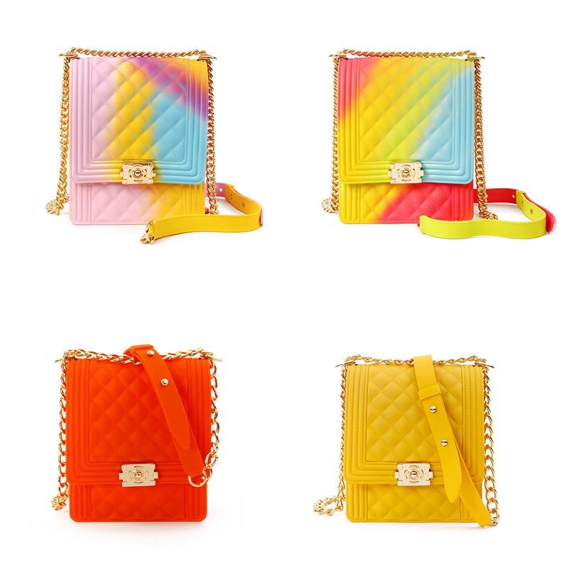 2020 New Arrivals Hot <strong>Sale</strong> Designer Crossbody Rainbow PVC Shoulder Handbag Women Small Candy Color Matte Jelly Purse