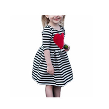 Wholesale Autumn new design <strong>girl</strong> party <strong>dress</strong> Striped front chest love design kids <strong>girl</strong> <strong>dress</strong>