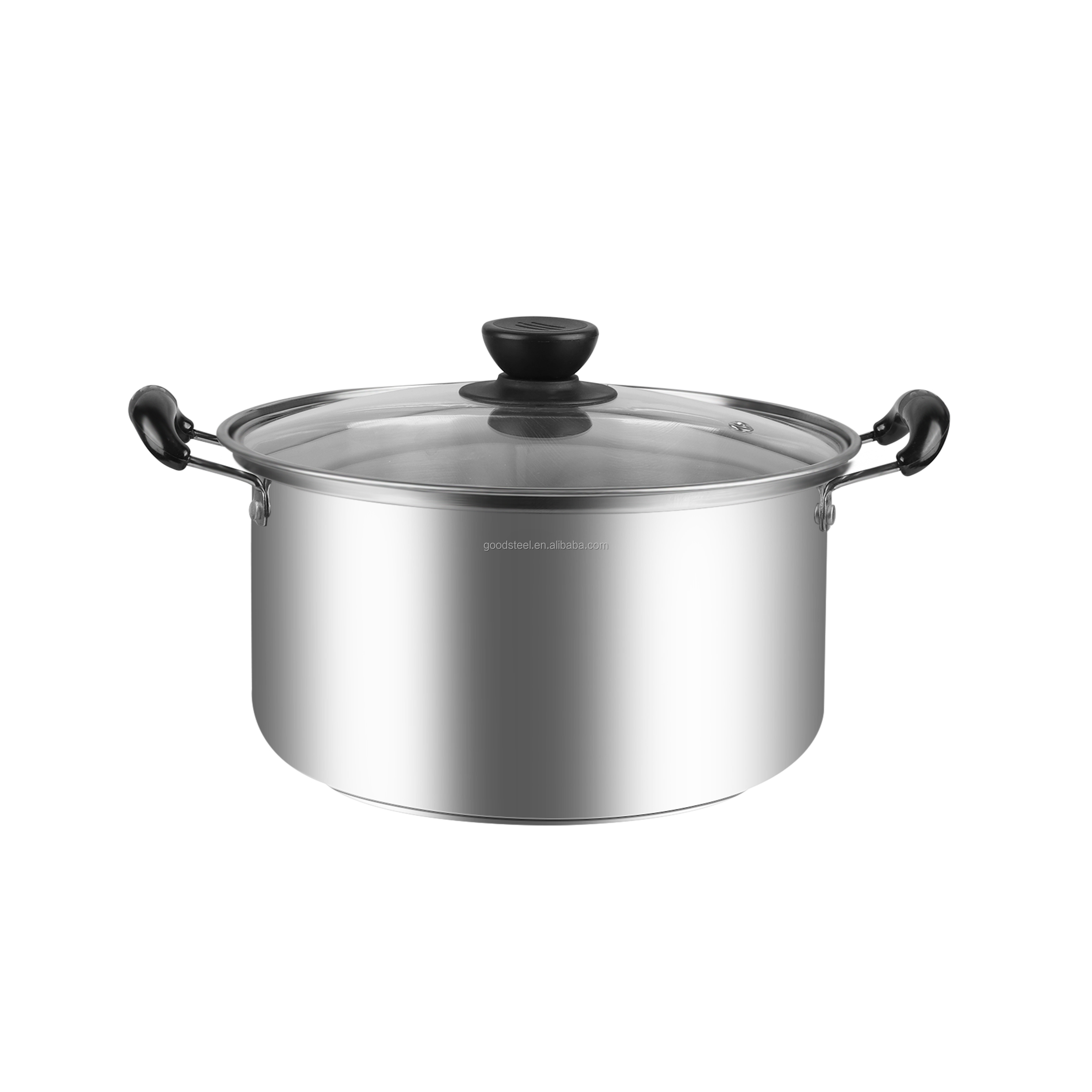 24cm kitchen stainless steel casserole cooking pot with single induction bottom
