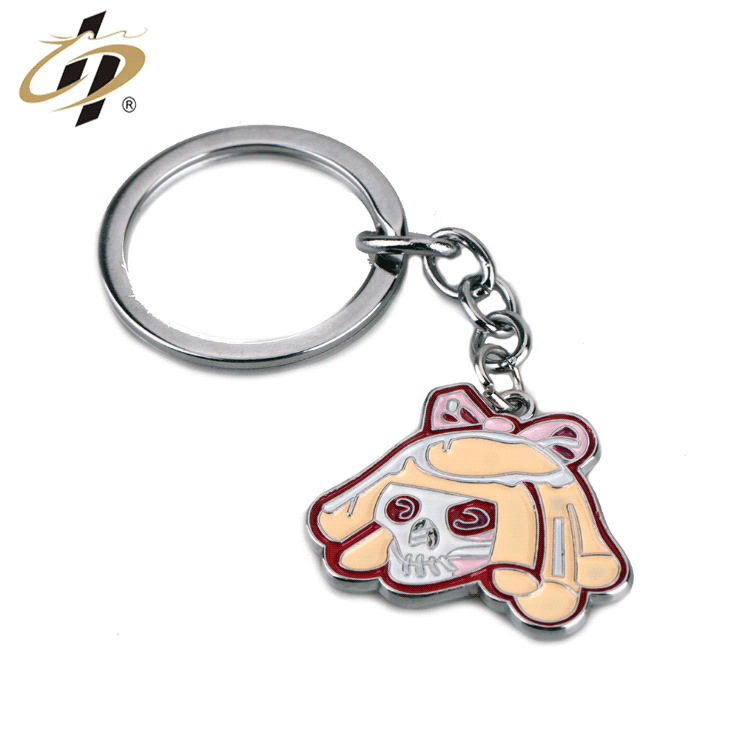 Factory custom die cast enamel cartoon silver metal key chains