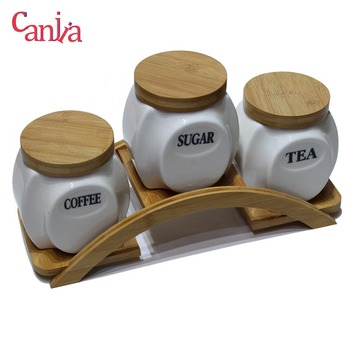 Bridge shape Coffee Tea Sugar 3pcs Canister Food Storage ceramic kitchen canister with bamboo lid