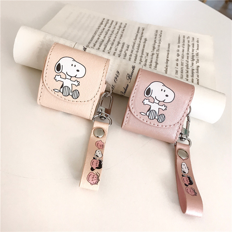 For Air-Pods Case Cute Cartoon Earphone Leather Cover For Apple A pods 2 Funny Pocket Bag Protect Cases with Lanyard