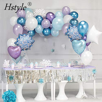 55PCS DIY Garland Metallic Latex Balloons Perfect for Frozen Birthday Party Baby Shower Winter Wonderland Christmas Party Decor