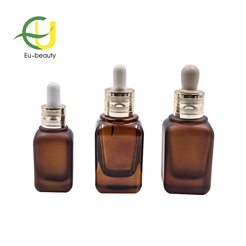 amber glass dropper bottle for essential oil  with aluminium dropper 50ml