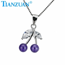 violet color cherry pendant with cubic zirconia gemstone 925 sliver chain of necklace for jewelry