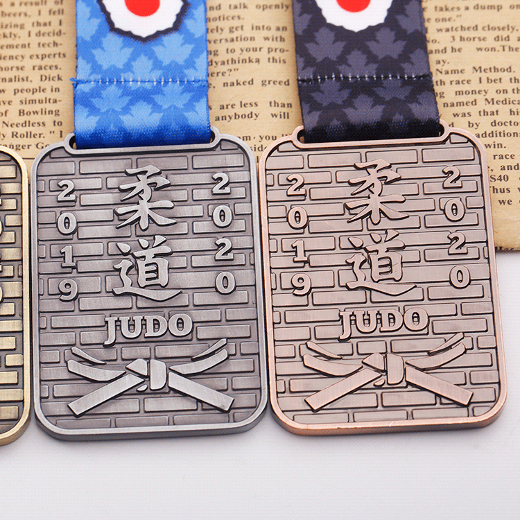 Wholesale custom zinc alloy antique silver metal judo medals