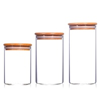 Storage Container Jar Glass With Bamboo lid 250ml 300ml 400ml 500ml Cover Print Customize Kitchen Use