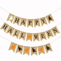 Outdoor Indoor Ghost Witch Pumpkin Decoration Printed Burlap Bunting Party Banners for Halloween Party Decoration