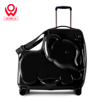 Aoweila Cute little elephant Custom PC hard shell children's suitcase, can sit and ride children's suitcase
