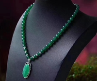 Wholesale Natural Green Agate Necklace With Micro - Inlaid Silver Chalcedony Pendant Exquisite High-end Atmosphere