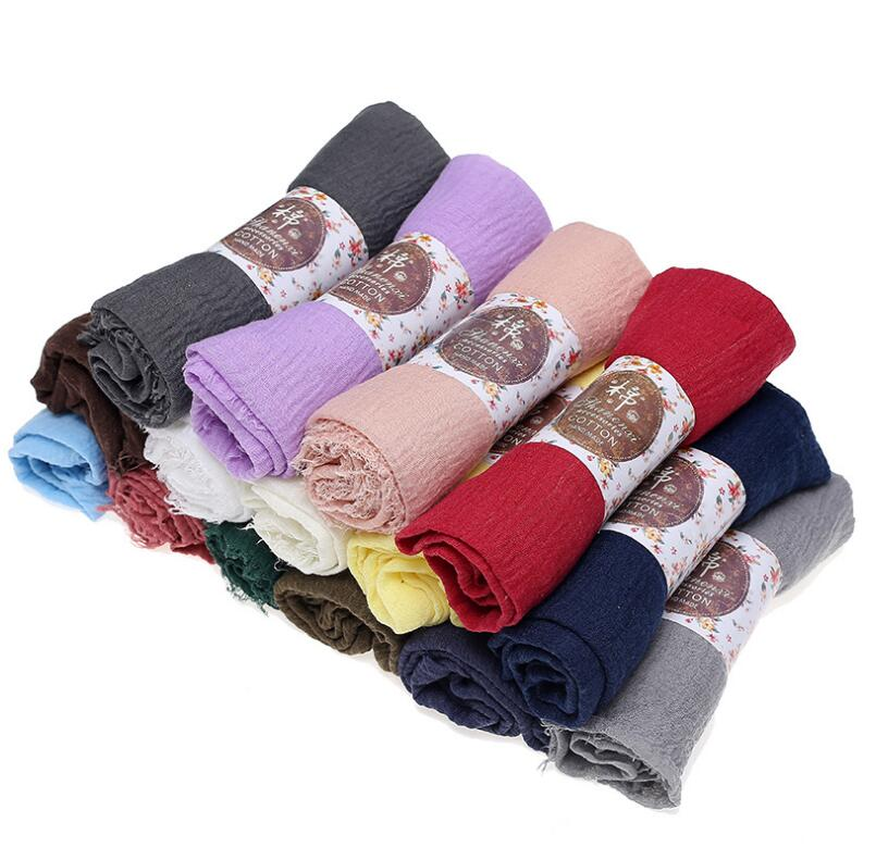 2020 Cozyhome Hot Sale Solid Color Crepe Crinkled <strong>Scarf</strong> Hijab Shawl with Frayed Edges For Any Age Woman