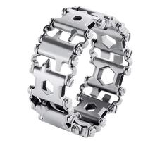 Multi Tool Bracelet Gift 29 in 1 Stainless Steel Multifunction Bracelet Survival Multitools (Black,Silver)