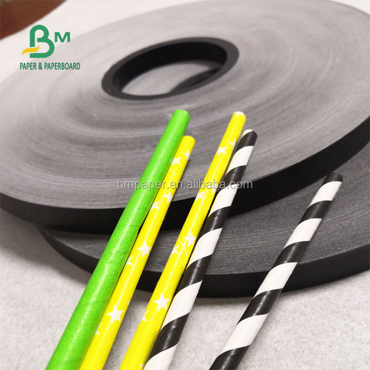 60GSM Black Color Drinking Straw Paper For Cocktail 15MM Slitted Size