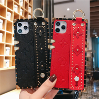 High end Fashion case For iPhone 12 11 pro max Genuine Leather Back Wrist Holder Phone Case for iphone xs max 8plus xr