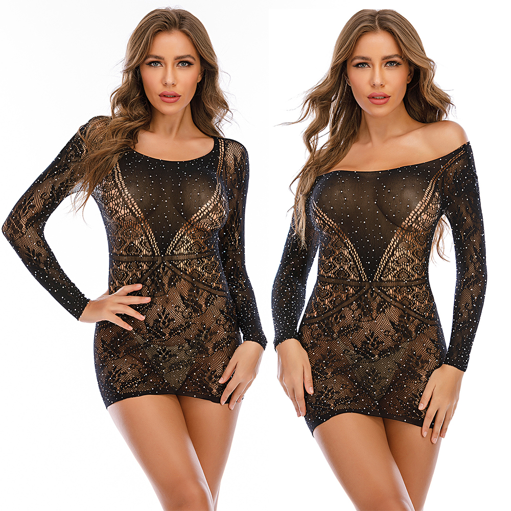 TZ15 <strong>Hot</strong> Women's Lace Diamond Sexy Transparent Nighty Mature Off Shoulder Long Sleeve Hip Skirt Dress Wholesale Lingerie