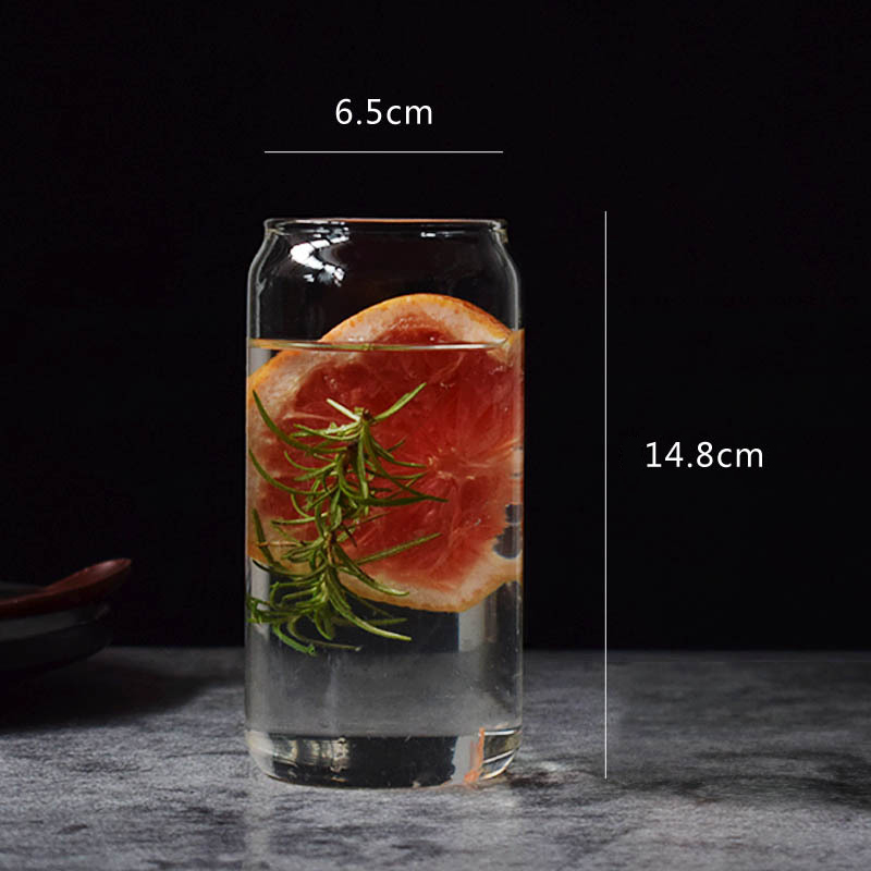 Nordic creative cola can glass milk fruit juice beer cup custom Logo drinking glass cup